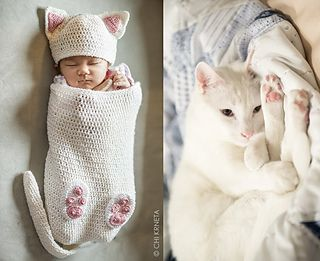 I wonder how long it would take to make this adult size! Paid pattern Ravelry: Cat Baby Cocoon Hat Bootie set
