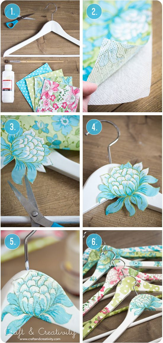 DIY:  Decoupaged clothes hangers - using paper napkins & glue