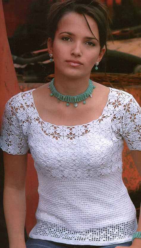 lovely white crocheted  top: free pattern