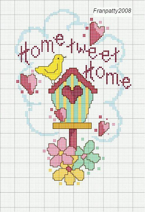 Cross-stitch Home Tweet Home.... no color chart, just use pattern chart colors as your guide.. or choose your own colors...