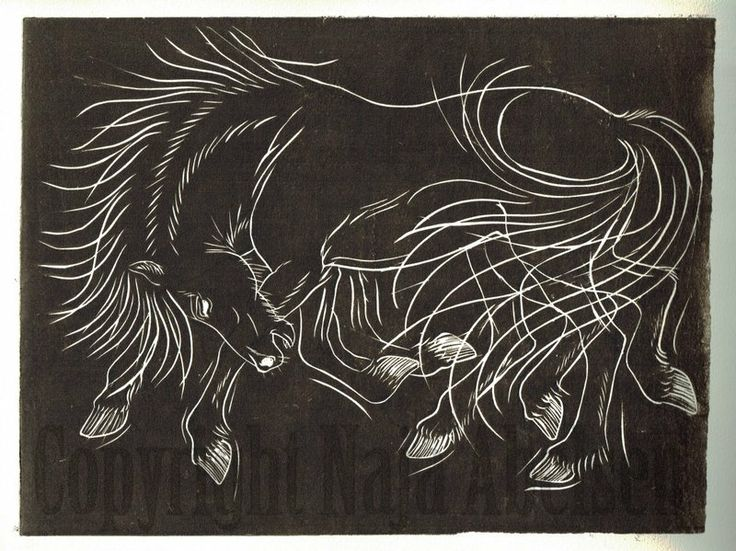 Sleipnir.  Odins eight-legged icelandic horse, from the viking/norse mythology. Linocut in sepia tone by Naja Abelsen, may 2014. For sale. www.najaabelsen.dk