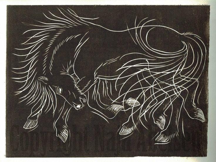 Sleipnir.  Odins eight-legged icelandic horse, from the viking/norse mythology. Linocut in sepia tone by Naja Abelsen, may 2014. For sale. www.najaabelsen.dk