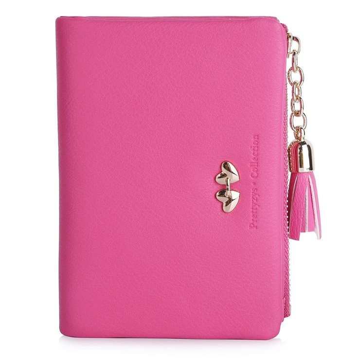 Vbiger Candy Color Girl's Wallets Lovely Short PU Purse for Women (Pink). Sweet color. Lovely heart pendant. Drawstring closure. Material: artificial leather. Zippered coin pocket and multiple credit card slots.