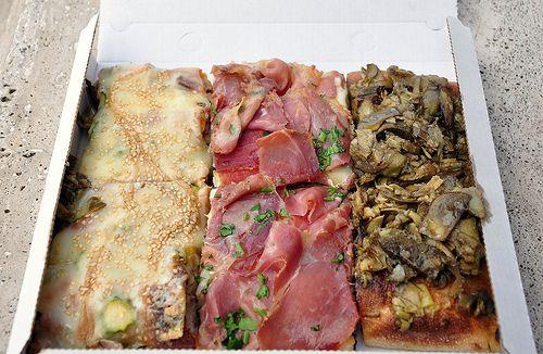 Pizza al taglio. This is how I remember pizza in Rome. Roman style.