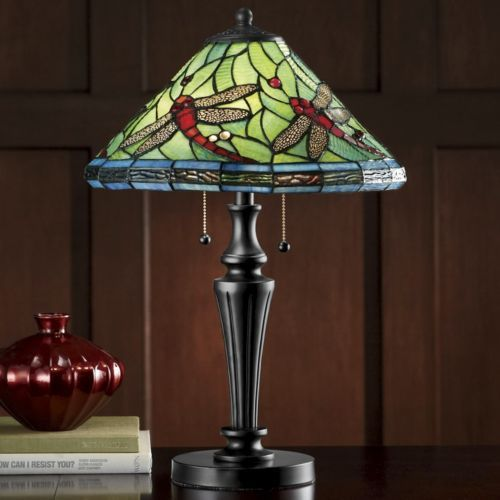 Stained glass dragonfly table lamp from seventh avenue