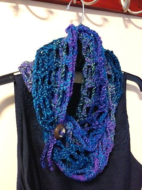 Just crocheted this EASY infinity scarf from http://www.mooglyblog.com/artfully-simple-infinity-scarf/