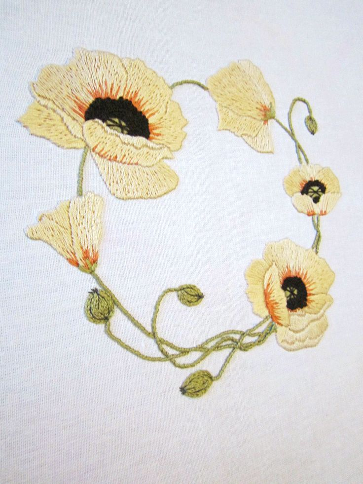 Yellow wreath stitching patterns floral embroidery