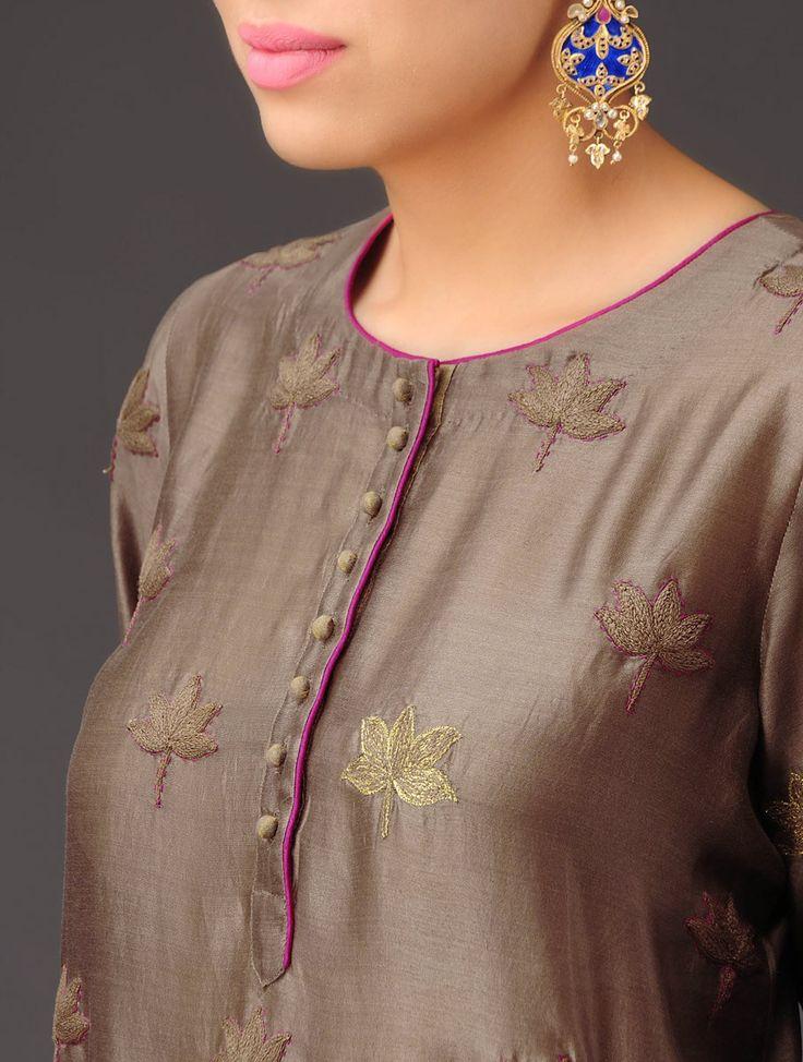 Cinnamon Lotus Motifs Embroidered Chanderi Kurta - Buy Apparel > Tunics & Kurtas > Cinnamon Lotus Motifs Embroidered Chanderi Kurta Online at Jaypore.com