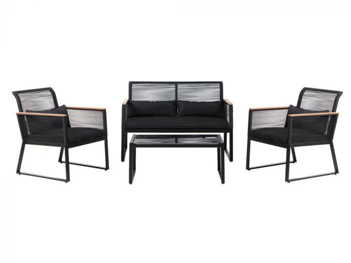Salon Bas 4 Places En Acier Et Resine Tressee Noir 1 Table Basse