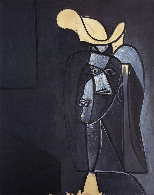 Visage gris foncé au chapeau blanc - Picasso (1947)