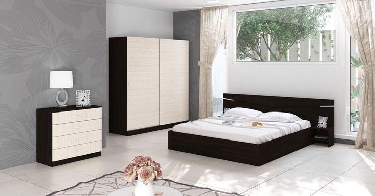 Set Mobilier Dormitor Modern Crem Negru