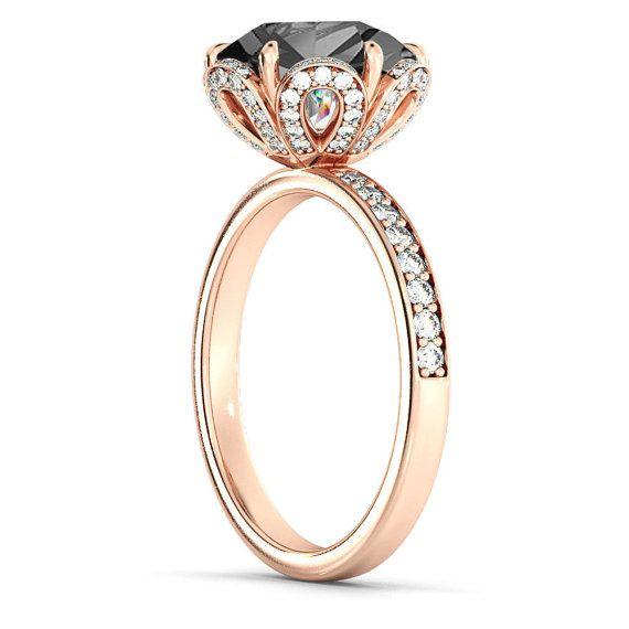 Black Diamond Engagement Ring Flower Diamond Ring by DiamondsMine