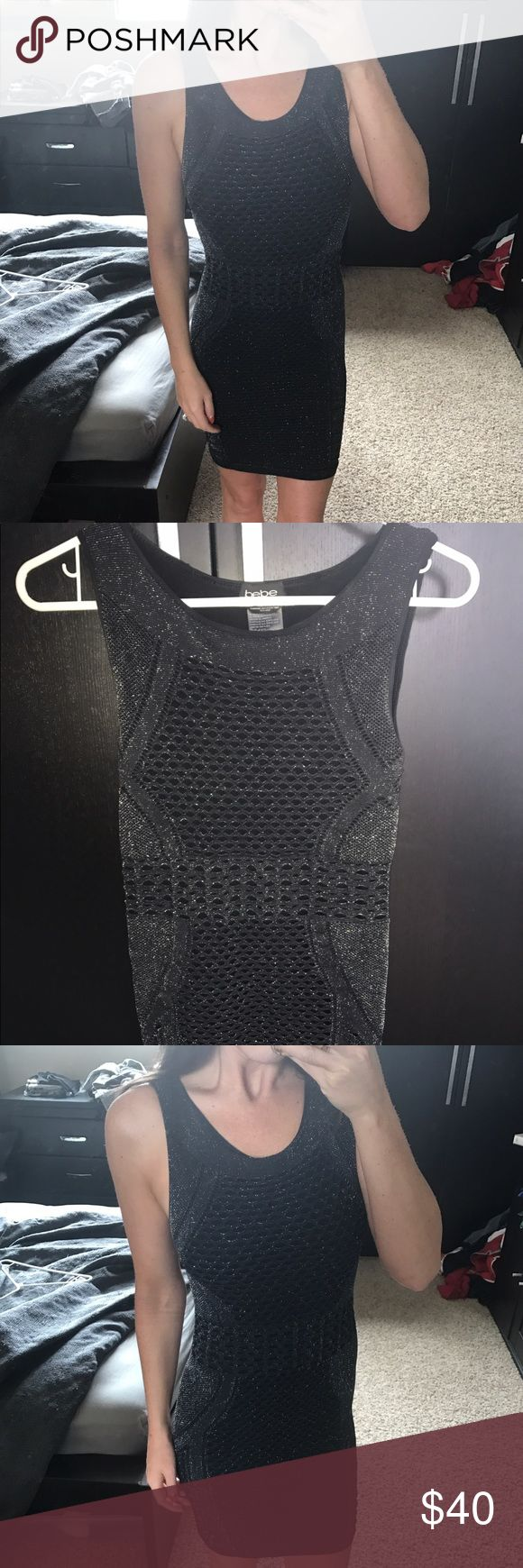 Bebe metallic bodycon dress This dress has a metallic mesh pattern overlay. Super stretchy and figure flattering. Holds you in like a bodycon dress. Super comfortable and perfect for a night out! No rips or tears only worn twice. bebe Dresses Midi