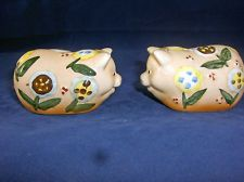 MES AMIS BY INNOVATION ~ VINTAGE PIGS DECORATED WITH FLOWERS SALT & PEPPERS