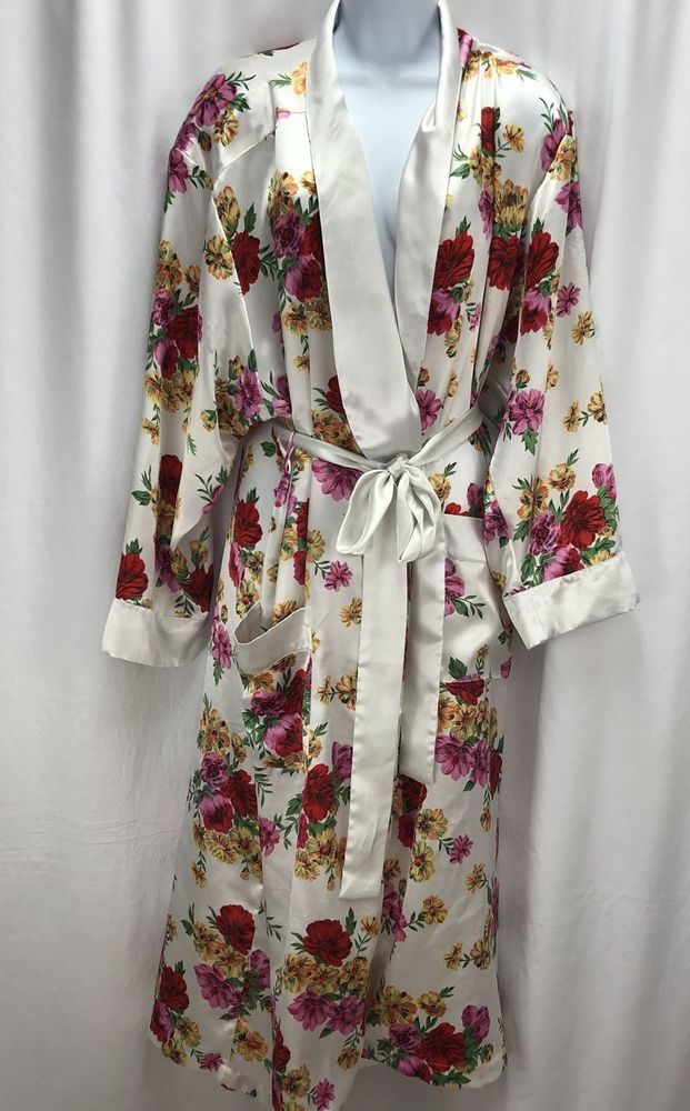 VICTORIAS SECRET SATIN ROBE BATHROBE WRAP FLORAL VTG GOLD LABEL Sz M ...
