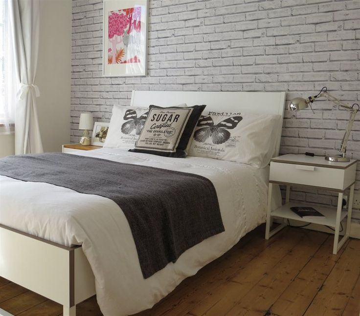 Love Wallpaper For Bedroom : Love the brick wallpaper behind Anna s TRYSIL bed At home in London live from IKEA FAMILY ...