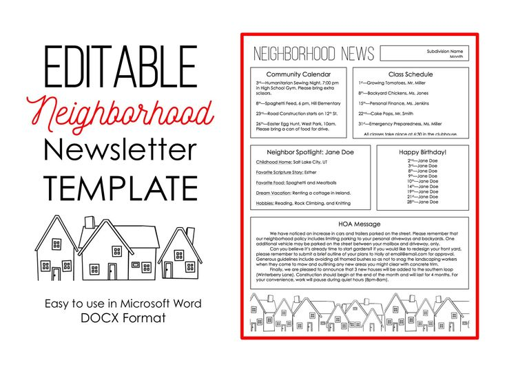 Newsletter Template for Microsoft Word Neighborhood