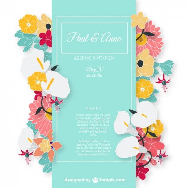 Wedding Invitation Card With Colorful Flowers Vector Free Download Weddingcard Free Invitation Cards Wedding Invitation Vector Elegant Wedding Invitation Card