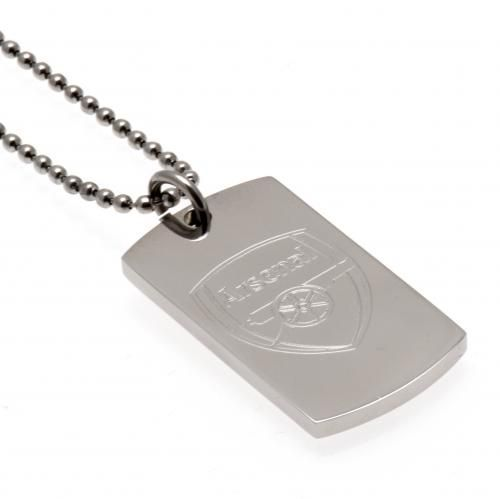 Stainless steel Arsenal FC dog tag and chain featuring an engraved club crest. A stunning bit of Arsenal jewellery. FREE DELIVERY