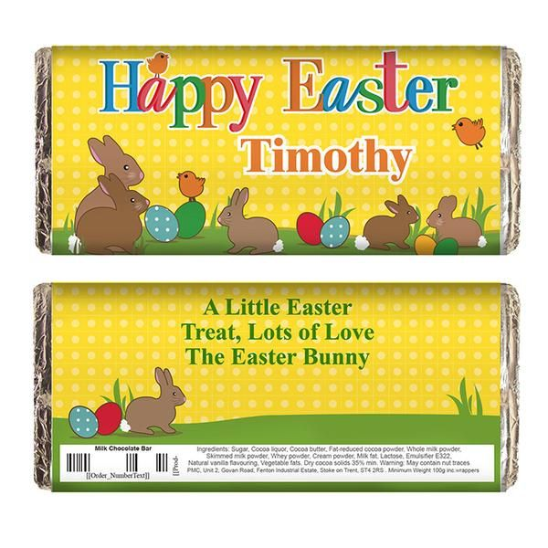79 best personalised easter gifts images on pinterest easter gift personalised easter bunny milk chocolate bar the hut market personalised gift shop negle Images