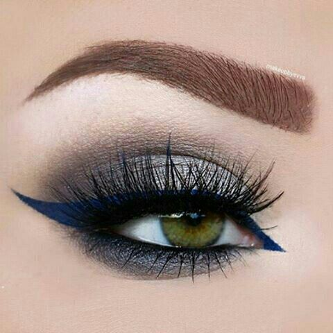 Charcoal-nude eye, w/navy to royal blue eyeliner on top eyelid