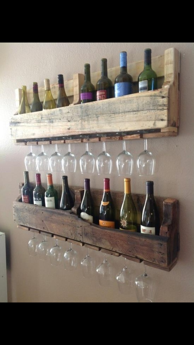 Wine and wine glass holder from old pallet