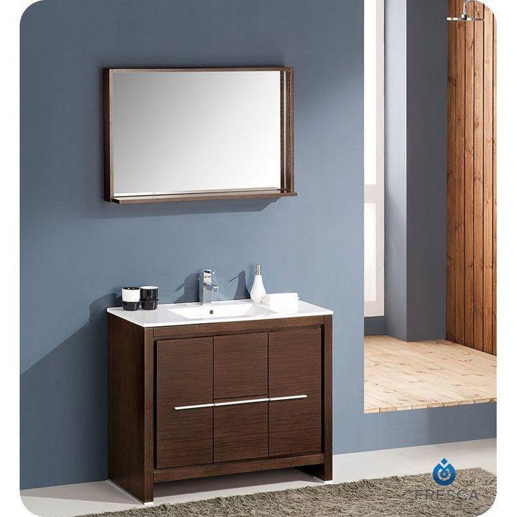 "Fresca Allier 40"" Wenge Brown Modern Bathroom Vanity w/ Mirror"