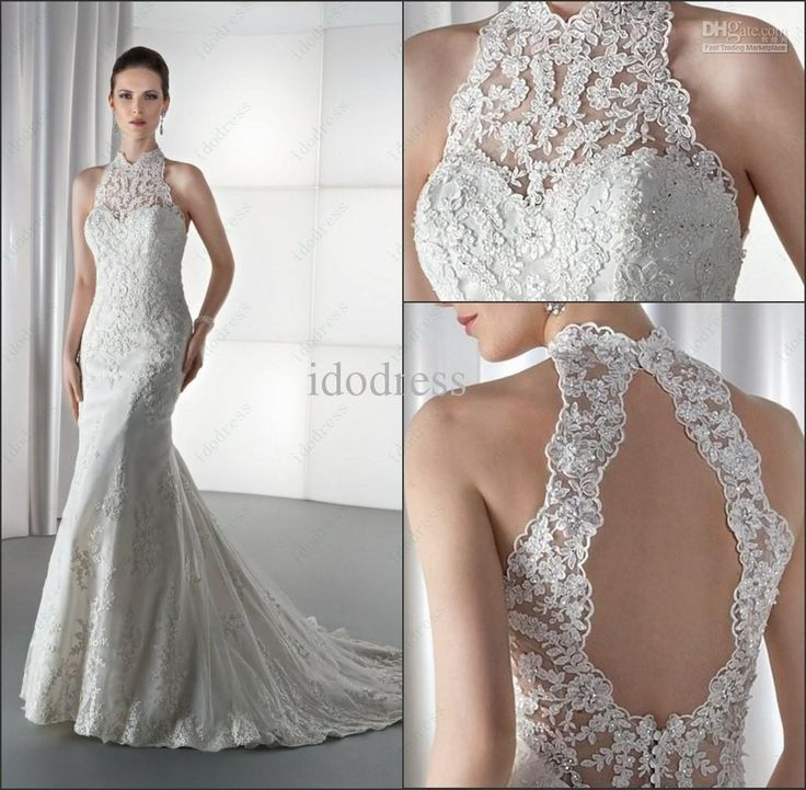 Charming High Neck Lace Bridal Wedding Dress Sheath Backless Stain Sequin Applique Sweep Train yk8Y97