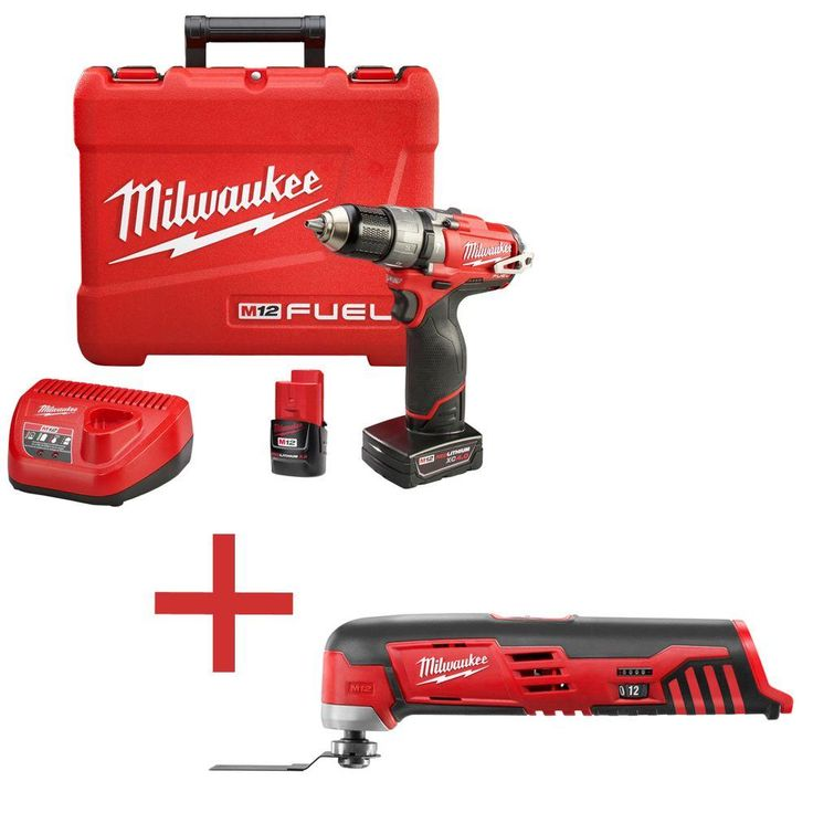 Milwaukee M12 Fuel 12-Volt Lithium-Ion Brushless 1/2 in. Cordless Hammer Drill/Driver Kit W/ Free M12 Multi-Tool