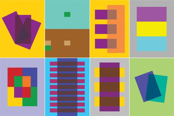 "8 panels of Albers ""Interaction of Color"" showing complimentary and repeating patterns of color"