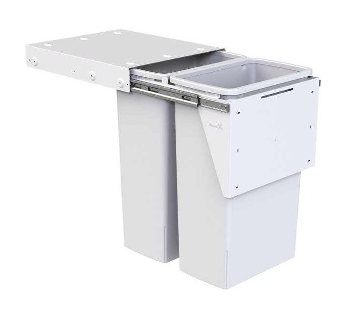 Hideaway Compact bin model: KC240D. 2 x 40L buckets, door pull. Largest available double bin solution - 80 litres total capacity! Features a patented air vent system to maximise bag volume.