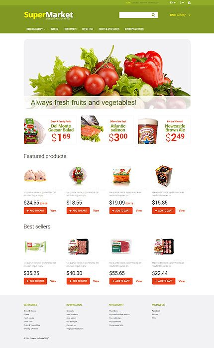 Online #SuperMarket website template - $140 #Prestashop #ResponsiveDesign