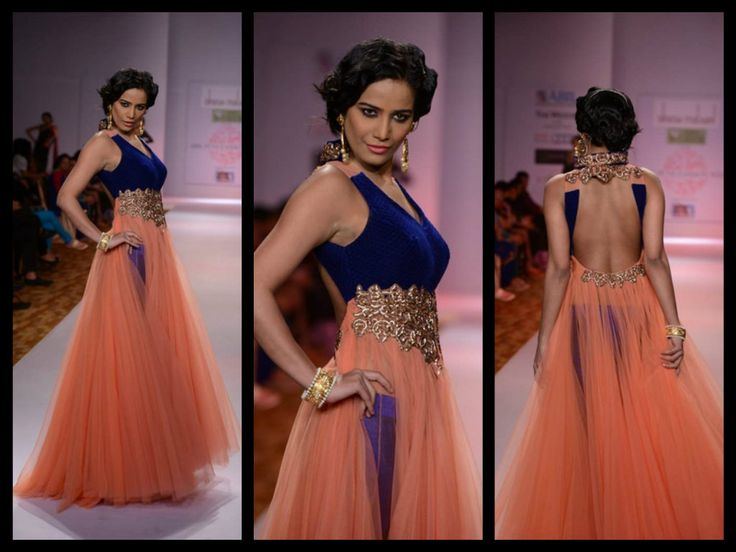 Ahhh-mazing!!! bollywood actress poonam pandey walks in peach color net long floor length anarkali dress Designed by Dinesh Malkini at ABIL Pune Fashion Week 2013.embroidery work work comes on middle with sleeveless deep backless salwar kameez