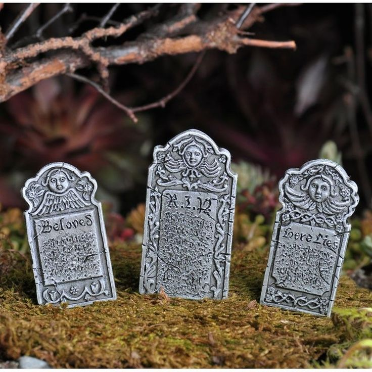 Fiddlehead Fairy Garden Victorian Gravestones, Set of 3, Great for Halloween!