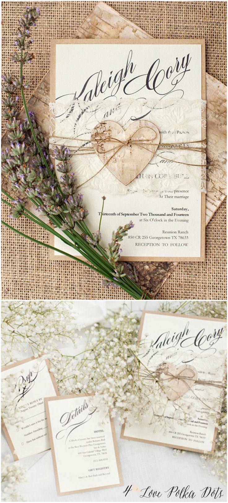 Romantic Rustic Lace Wedding Invitations With Birch Bark Heart #rustic  #romantic #eco #