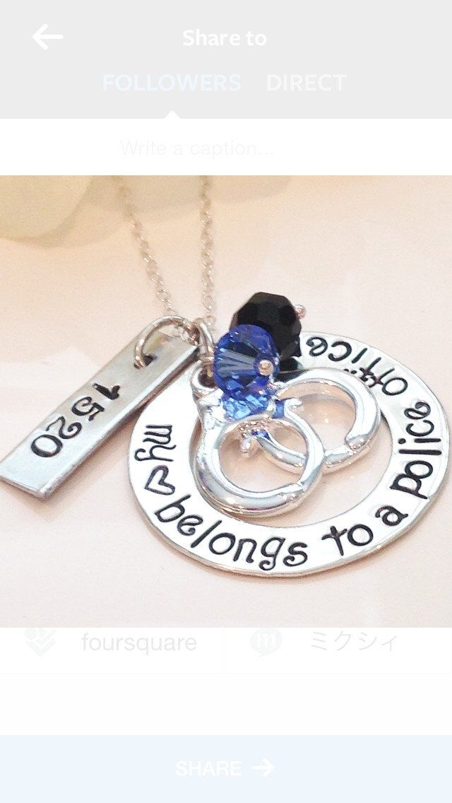 A personal favorite from my Etsy shop https://www.etsy.com/listing/220437453/police-officer-wife-necklace-girlfriend