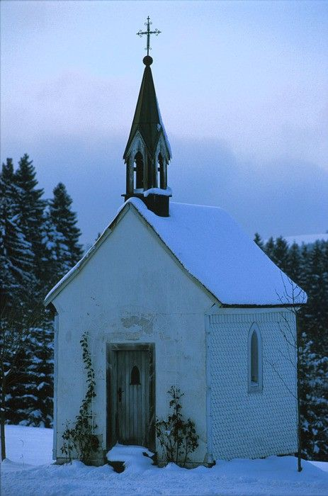 """little old church in winter - beautiful! I would love to have a little """"chapel"""" like this out in the woods one day when I have my dream property and home...."""