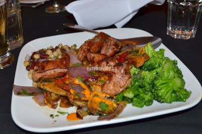 Salsiccia in Cognac – Italian sausage flambéed in cognac, served with a tangy kidney bean chick pea salad and roasted veges and potatoes