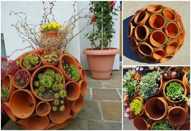DIY Succulent Clay Pot Planter Sphere Garden Art #Gardening
