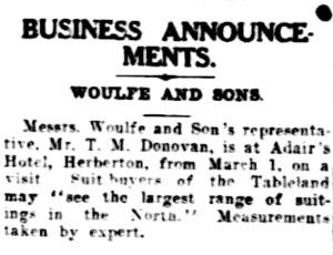 Woulfe and Sons representative visits Herberton, 1935 / The Cairns Post, National Library of Australia http://nla.gov.au/nla.news-article41540013 | thefashionarchives.org