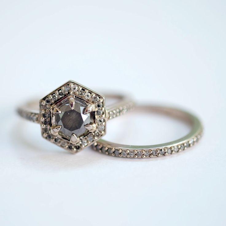 Meadowlark: 18ct White Gold Grey Diamond Hex Engagement Ring