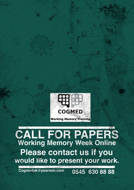 CALL FOR PAPERS: Do you have something you would like to contribute to our Online Working Memory Week? Get in touch!