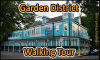 FREE New Orleans Garden District Walking Tour with printable map. Do it yourself guided tour of the best New Orleans Mansions to see in the Garden District near Lafayette Cemetery #1. Top walking tours and things to do in NOLA.