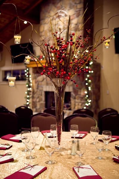 cranberry and gold bridal bouquets | ... of branches hanging votives pheasant feathers cranberries and golden