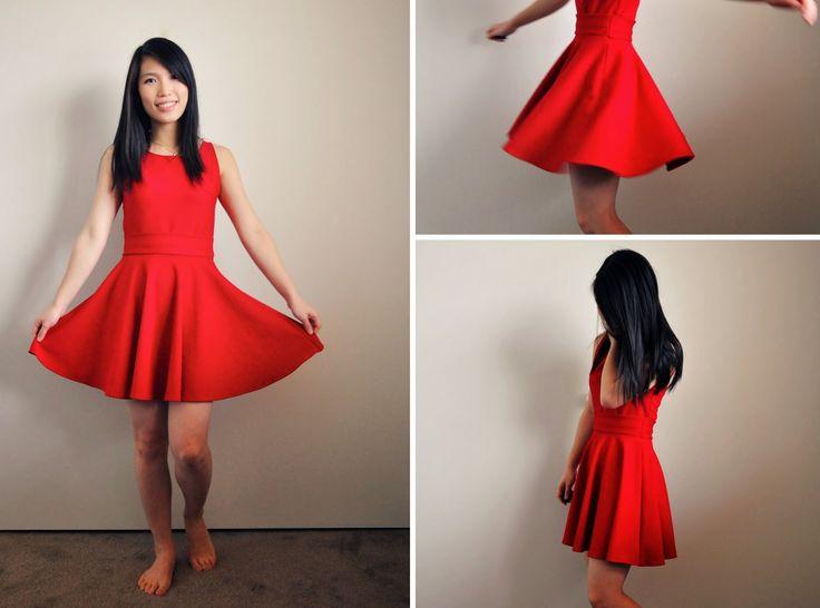 """Skater dress DIY -- crop top + circle skirt """"cheat""""!"""