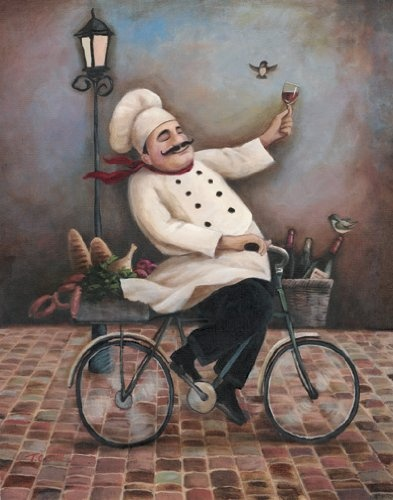 4 Jolly Chef Prints Kitchen Decor Food/Wine Art Prints $3.60