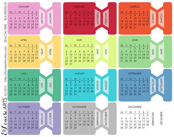 2016 Calendar Planner Month Tab Stickers  Hobonichi by ELouiseArts