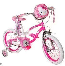 Hello Kitty Girls' Bike 16 inch with training wheels, bag and streamers. Pink & White Girls Bike ON SALE !! A girls bike which helps balance and coordination. Great Kids Bike. *** You can get more details by clicking on the image.