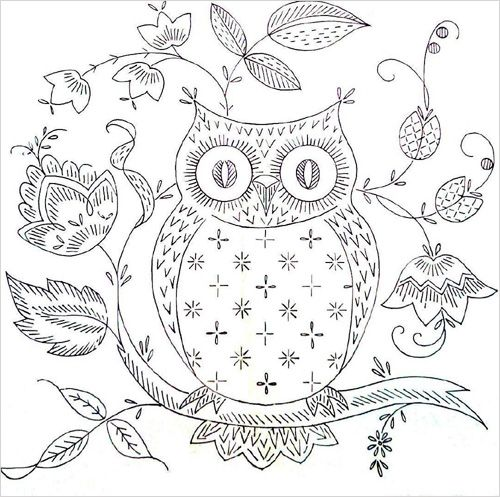 Printable Owl Pattern Template | Free Owl Embroidery Pattern