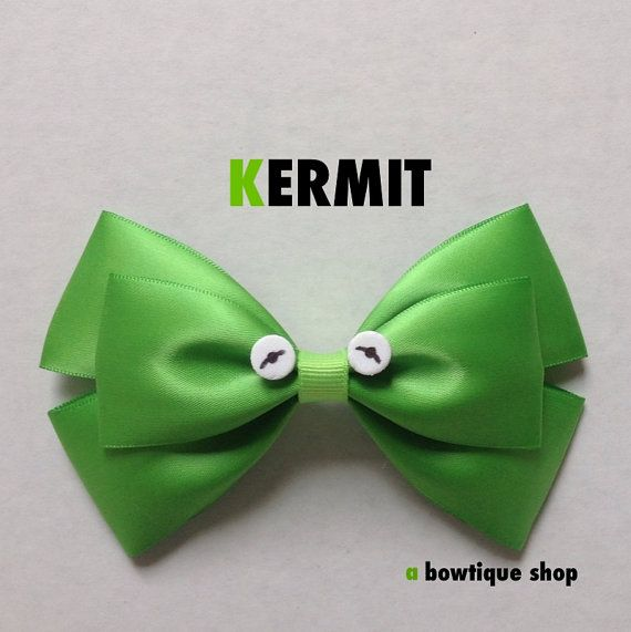 kermit hair bow by abowtiqueshop on Etsy